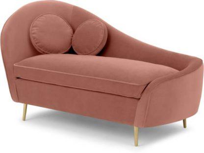 An Image of Kooper Right Hand Facing Chaise Longue, Blush Pink Velvet