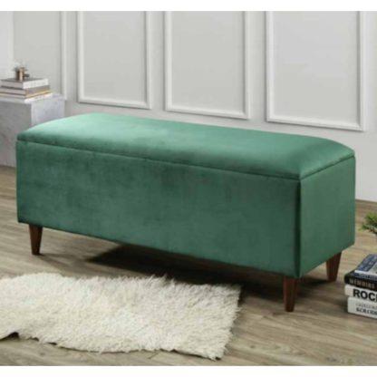 An Image of Emma Velvet Upholstered Storage Ottoman In Green