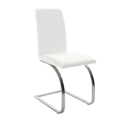 An Image of Maui White Pu Dining Chair With Silver Finish Legs