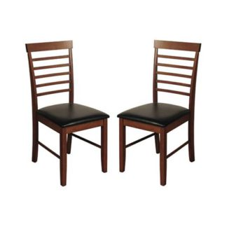 An Image of Marsic Dark Acacia Dining Chairs In Pair