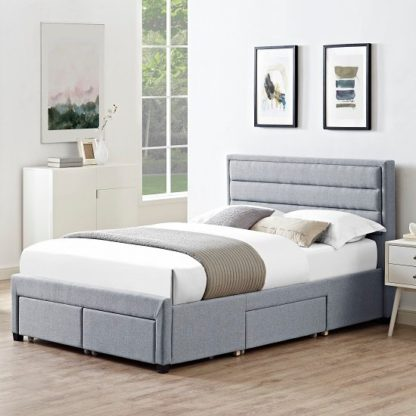 An Image of Brayden Contemporary Fabric Storage King Size Bed In Grey