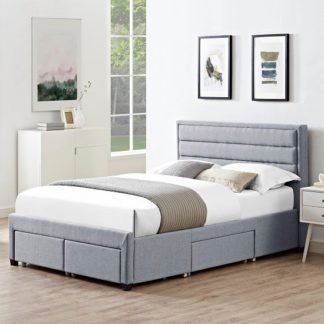 An Image of Brayden Contemporary Fabric Storage Double Bed In Grey