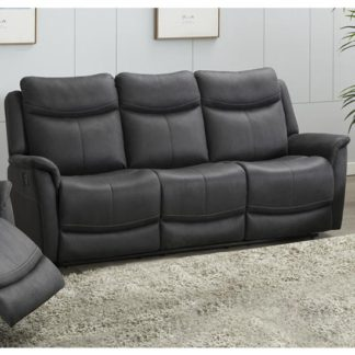 An Image of Arizona Fabric 3 Seater Electric Recliner Sofa In Slate