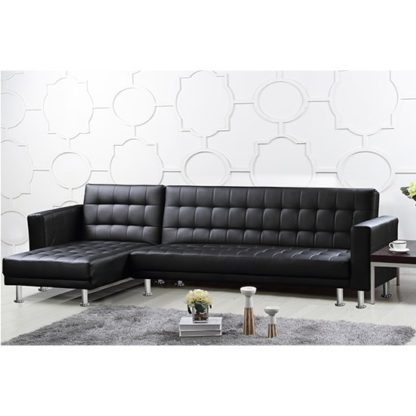 An Image of Hawthorn PU And PVC Corner Multi Functional Sofa Bed In Black