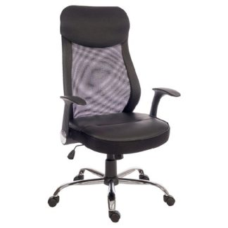 An Image of Imogen Curve Home Office Chair In Black With Mesh Back