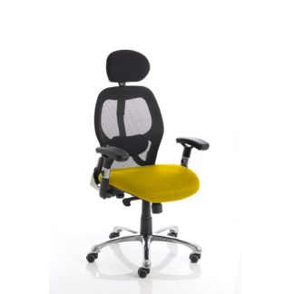 An Image of Coleen Home Office Chair In Yellow With Castors