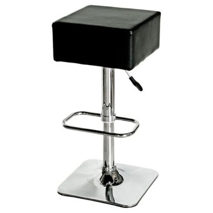 An Image of Compton Bar Stool In Black Faux Leather With Chrome Base