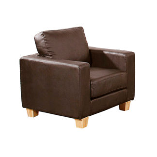 An Image of Wasp PU Leather 1 Seater Sofa In Brown