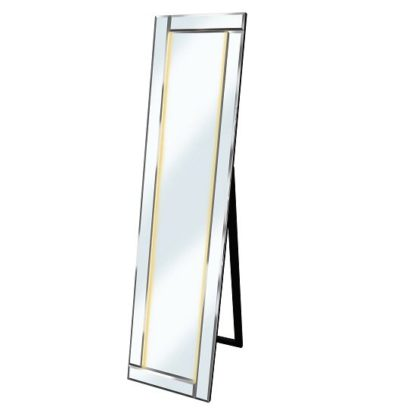 An Image of Bevelled Cheval Free Standing Mirror In Silver With Amber LED