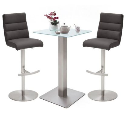 An Image of Soho White Glass Bar Table With 2 Hiulia Anthracite Stools