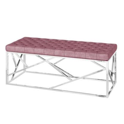 An Image of Kieta Velvet Fabric Upholstered Dining Bench In Pink