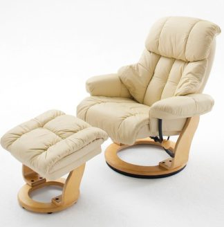An Image of Calgary Swivel Relaxer Chair Leather Cream And Oak And Footstool