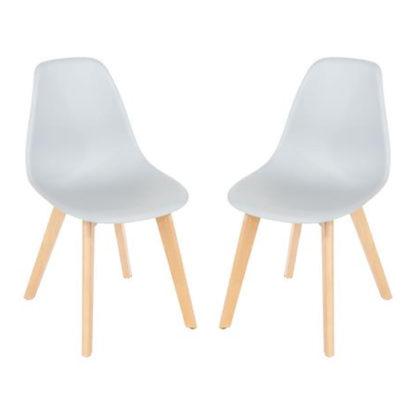 An Image of Arturo Grey Bistro Chair In Pair With Wooden Legs