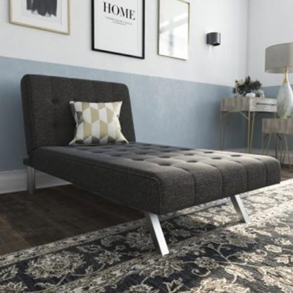 An Image of Emily Faux Leather Chaise Single Sofa Bed In Linen Grey