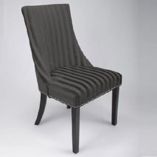 An Image of Carolyn Fabric Dining Chair In Velvet Stripe Charcoal