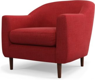 An Image of Custom MADE Tubby Armchair, Postbox Red with Dark Wood Legs