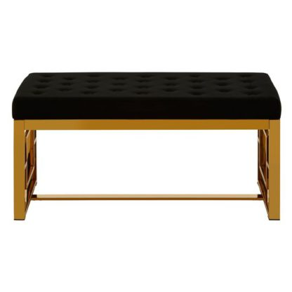 An Image of Alluras Black Velvet Bench With Gold Finish Metal Base