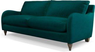 An Image of Custom MADE Sofia 3 Seater Sofa, Plush Mallard Velvet with Light Wood Leg
