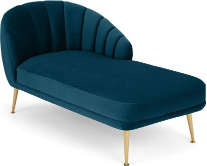 An Image of Primrose Right Hand Facing Chaise Longue, Velvet Petrol Teal