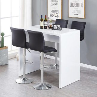 An Image of Glacier Bar Table In White Gloss With 4 Ripple Black Stools