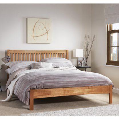An Image of Mya Hevea Wooden King Size Bed In Honey Oak