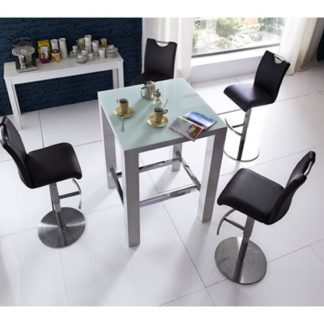 An Image of Jam Glass Bar Table in White Gloss With 4 Alesi Black Stool