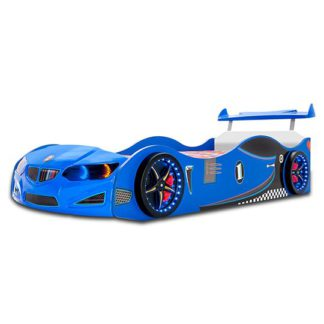 An Image of BMW GTI Childrens Car Bed In Blue With Spoiler And LED