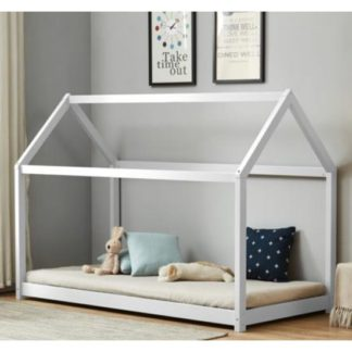 An Image of House Wooden Single Bed In White