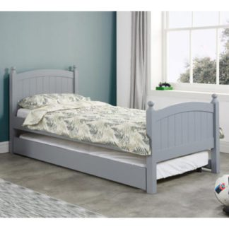 An Image of Whitehaven Wooden Single Bed In Grey