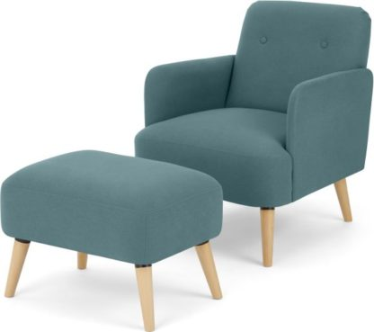An Image of Elvi Accent Armchair and Footstool, Sherbet Blue
