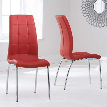 An Image of Grus Red Leather Dining Chairs In Pair