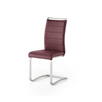 An Image of Scala Dining Chair In Bordeaux PU And Brushed Stainless Steel