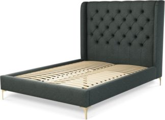 An Image of Custom MADE Romare Double size Bed, Etna Grey Wool with Brass Legs