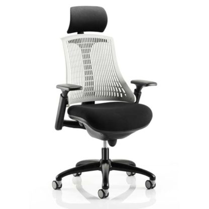An Image of Flex Task Headrest Office Chair In Black Frame With White Back