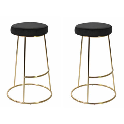 An Image of Opera Black Finish Bar Stool In Pair