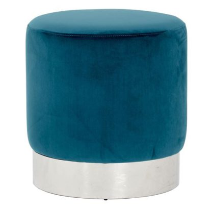 An Image of Sceptrum Teal Velvet Round Stool With Silver Base