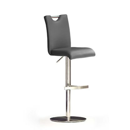 An Image of Bardo Grey Bar Stool In Faux Leather With Stainless Steel Base