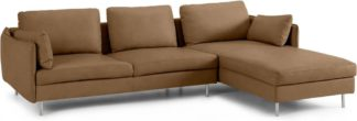 An Image of Vento 3 Seater Right Hand Facing Chaise End Sofa, Pale Tan Leather