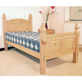 An Image of Corona High Footend Wooden Single Bed In In Oak