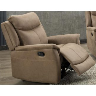 An Image of Arizona Fabric Electric Recliner Armchair In Caramel