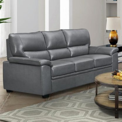 An Image of Rachel LeatherGel And PU 3 Seater Sofa In Grey