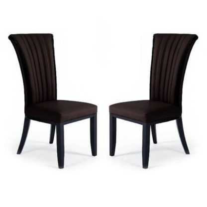 An Image of Horizon Dining Chair In Brown Bonded Leather In A Pair