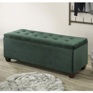 An Image of Lily Velvet Upholstered Storage Ottoman In Green