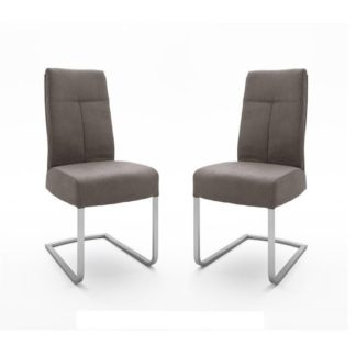 An Image of Ibsen Modern Dining Chair In Leather Look Brown In A Pair