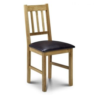 An Image of Coxmoor Dining Chair In Oiled Oak Finish With Brown Seat