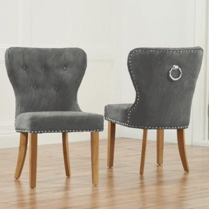 An Image of Chason Grey Plush Studded Dining Chair In Pair