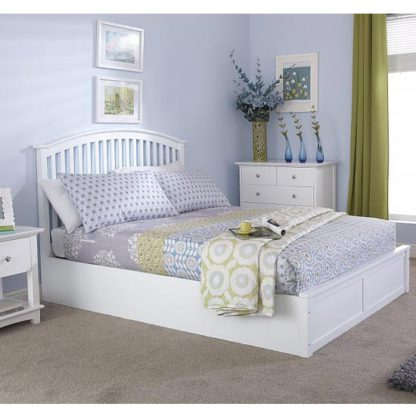 An Image of Madrid Ottoman Wooden Double Bed In White
