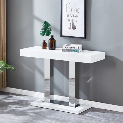 An Image of Candice Console Table In White Gloss With Stainless Steel Legs