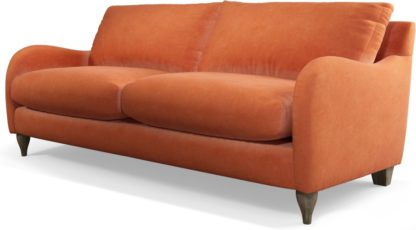 An Image of Custom MADE Sofia 3 Seater Sofa, Plush Coral Velvet with Light Wood Leg