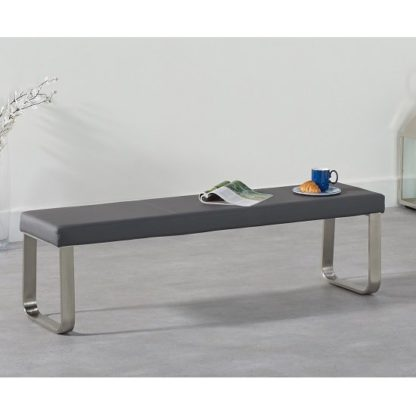 An Image of Washington Large Dining Bench In Grey Faux Leather